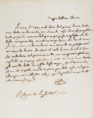 Handwritten letter from Gioachino Rossini (1792-1868) to Giuseppe Verdi (1813-1901), July 21, 1846